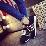 Ladies Womens Girls Lace Up Front Tie Lace Up Floral Side Strip Striped Sneakers Cute Tennis Shoes